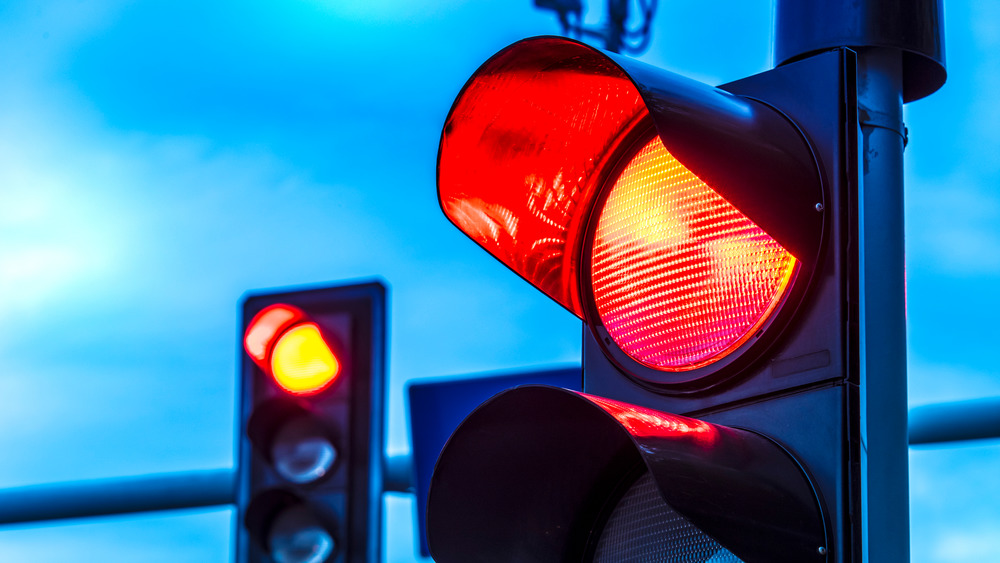 A traffic light lit up red